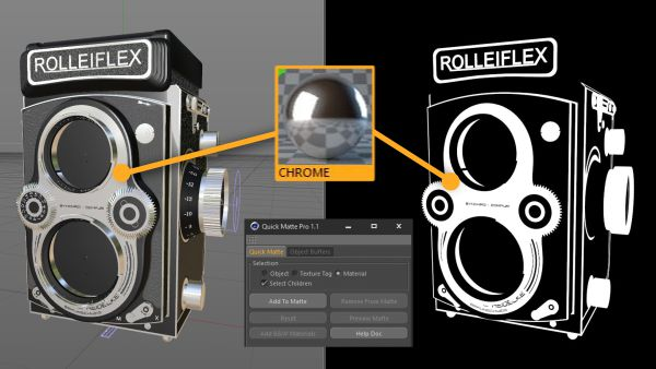 Side by Side of Cinema 4D Viewport and Render matting materials with Quick Matte Pro