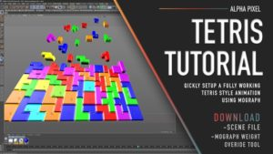 Cinema 4D viewport showing multicolored tetris bricks